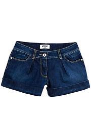 MOSCHINO bermuda di jeans denim in tinta unita con due tasche sul fronte