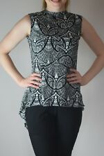UK women's top tank vest blouse office ladies print crepe short sleeve 8 - 16