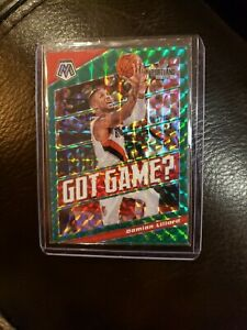 2019-20 Panini Mosaic Basketball #14 Damian Lillard Got Game Green Prizms