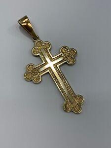 9ct 9k Yellow Gold Large Orthodox Crucifix Cross Pendant 28.6 Grams. New