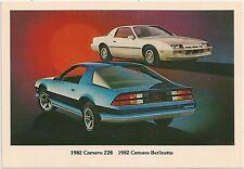 1982 Chevrolet Camaro Z28 and Berlinetta Automobile Advertising Postcard