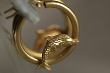 "14K YELLOW GOLD DOLPHIN WHALE SHARK HOOP DROP DANGLING EARRINGS 14KT 1"" 26.4MM"