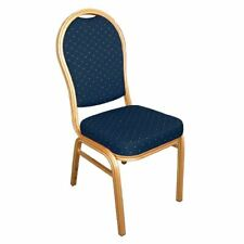 More details for bolero banquet chairs in blue and gold aluminium with arched back - pack of 4