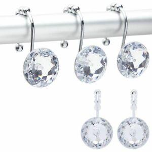 Acrylic Diamond Shower Curtain Hooks, Bling Bathroom Decor (12Pack)