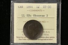 "1891 Canada. One Cent. ""LLSD Obv2"" ICCS Graded VF-30 (XUV965)"