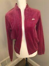Vintage 70s Lacoste Velour Zip Up Jacket Sweater Women's Fuschia Medium Pockets