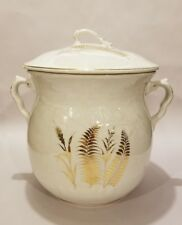Antique Burfords England Large Two Handled White Gilt Wheat Chamber Slop Pot