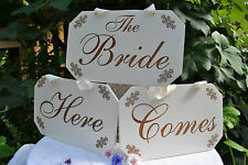 Wedding Signs Here Comes the Bride Custom Engraved Sign