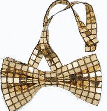 Noeud papillon à paillettes carrées or ruban assorti [713149] carnaval costume