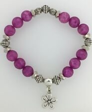 Fushsia Pink Frosted Crackle Beaded Bracelet - Silver Colour FLOWER Charm