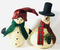 Set of 2 Stained Linen Snowmen Vintage Snowman Christmas Figures