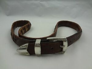 Brighton Woven Braided Medium Brown Leather Belt ~ Silver Tone Buckle ~ sz 34