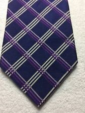 BROOKS BROTHERS MENS TIE NAVY BLUE WITH PURPLE PINK AND WHITE 4 X 61