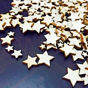 Wooden MINI MIXED STARS Embellishments weddings craft scrapbook card making