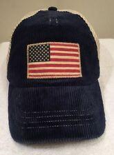 Polo Ralph Lauren Men's Adjustable Corduroy Flag Trucker Cap Yankee Blue NEW $50