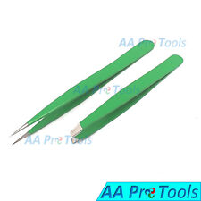 Professional Beauty Eyebrow Tweezers Slanted & Pointed Tips Hair Remover Green