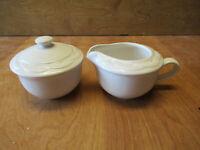 Pfaltzgraff USA ACADIA WHITE Creamer & Sugar Bowl & Lid