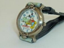 90s' Disney Mickey Mouse Watch with Leather Strap  Vintage !!