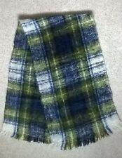 "New Vintage 60"" x 16"" Mohair Wool Tartan Plaid Winter Scarf"