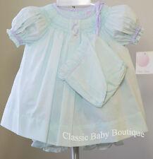 NWT Petit Ami Mint Green Lavender Smocked Bishop 3pc Dress Newborn Baby Girls