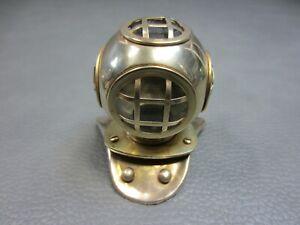 "Vintage Brass Scuba Diver Helmet Deep Sea Mini 3 1/2"" Desk Display Replica"