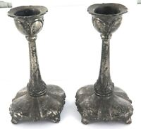 .MATCHING PAIR ANTIQUE JENNINGS BROS, USA PEWTER CANDLE STICK HOLDERS.