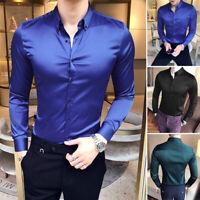 INCERUN Men's Satin Plus Dress Shirt Long Sleeve Slim Business Formal Casual Top