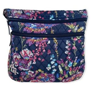 Vera Bradley Navy Blue With Flowers Triple Zip Hipster For Craft Or Repairs