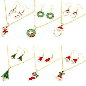 Christmas Tree, Santa Claus, Candy Cane,Bell Necklace Earring Sets Gold AU SELL