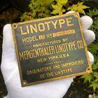 WOW! ANTIQUE RARE LINOTYPE NAMEPLATE PLAQUE PRINTING PRESS MACHINE NEW YORK!