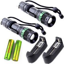 2PC 5000Lumens UltraFire Tactical Zoom T6 LED Flashlight Focus & 18650 +Charger