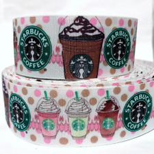 "Grosgrain Ribbon 5/8"", 7/8"",1.5"", 3"" Starbucks Coffee white Desserts Printed"
