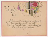 Vintage Thank You Card Art Deco Flowers