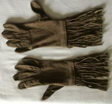 "Rare 1960's Soft Brown Suede Gloves w 4"" Fringe Sz 6 1/2 ~ Beautiful! Ooak Hippy"