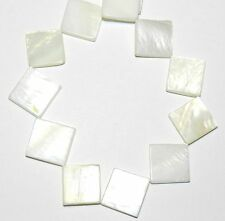 """MP1833f White Mother of Pearl 15mm Flat Square Diamond Gemstone Shell Beads 15"""""""