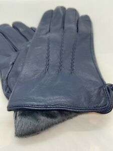 MENS LEATHER GLOVES, BLUE, NICELY LINED, REAL LEATHER, SIZE XL