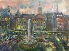 Dam Square, Amsterdam, Holland 18x24 in. Original Oil on canvas  Hall Groat Sr.