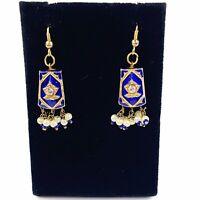 Vtg Gold Blue Enamel Drop Dangle Earrings Faux Pearl Bauble Rhinestone Moroccan