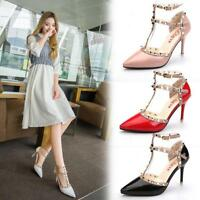 Womens Rivets Ankle Straps Hollow Pointed Toe Sandals Stilettos high Heels K431
