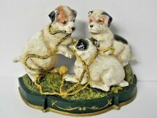 Cast Iron Unique Door Stop Three Mischievous Puppies Vintage - 5 lbs