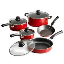 Kitchen Cookware Set 9-Piece Pots Pans Lids Cooking Home Aluminum Nonstick Red