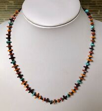 Santo Domingo Turquoise Spiny Oyster Sterling Necklace - Jeanette Calabaza 18""