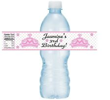 12 Princess Crown Tiara Birthday Party Baby Shower Water Bottle Label Christenin