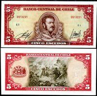 CHILE 5 ESCUDOS 1964 P 138 AUNC ABOUT UNC