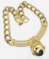 Chunky Modernist Gold Tone/Plated Necklace Double Linked Chain Vintage Jewelry