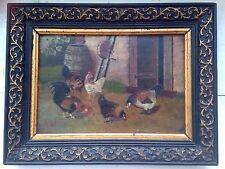 Tableau Miniature XIXe Coq et poule Peinture à l'Huile 19ème Monogramme AH
