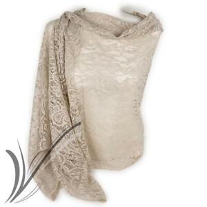 Stola beige donna elegante cerimonia coprispalle foulard scialle merletto macram