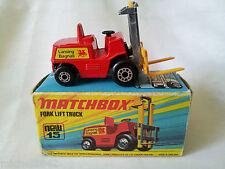 Matchbox Superfast 15 Fork lift truck Lesney neuf boite Chariot élévateur 1972