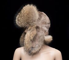 Finn Raccoon & Sheared Beaver Fur Men's Handmade Winter Aviator Trapper Hat