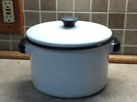 """Vintage Enamelware Pot with Lid- White with Black Trim- 8"""" Across,5"""" TAll"""